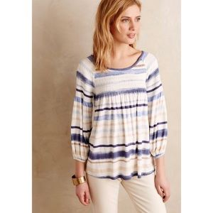 Meadow Rue Anthro Striped Smocked Peasant Blouse